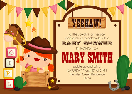 cowgirl: Cowgirl Baby Shower Invitation Illustration