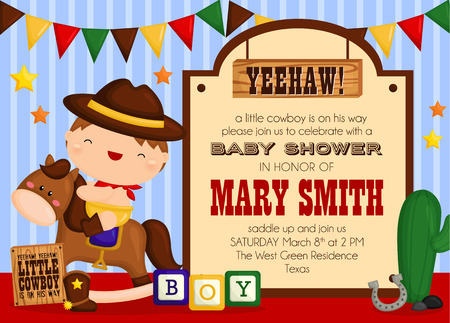 ni�os con pancarta: Invitaci�n de la ducha del beb� del vaquero