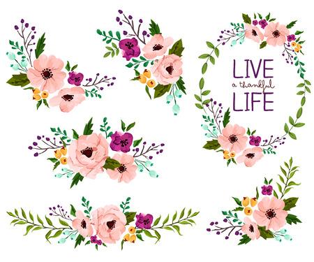 jardines con flores: Acuarela de la flor Vector Set Vectores