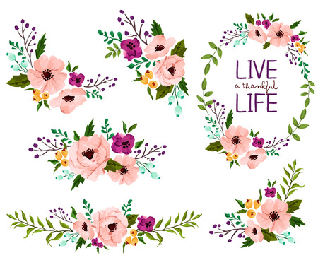tuinontwerp: Flower Aquarel Vector Set Stock Illustratie