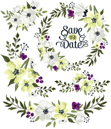 flower: Flower Wreath Vector Set Illustration