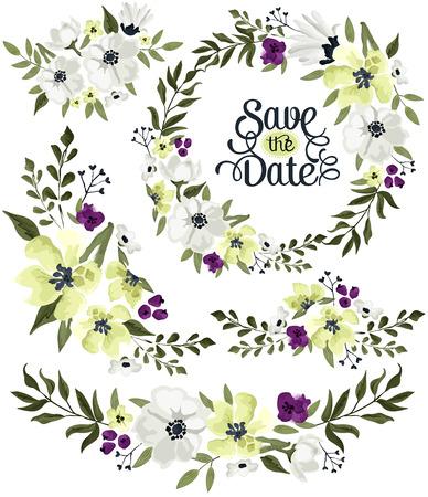 flores moradas: Guirnalda de la flor Vector Set