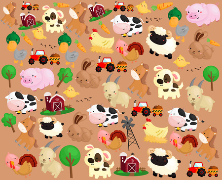 cartoon rabbit: Farm Animal Background Illustration
