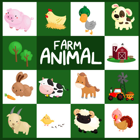 baby goat: Farm Animal Vector Set Illustration