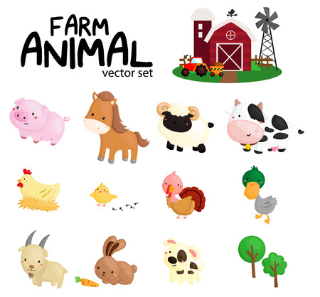 farm animals: Farm Animal Vector Set with No Background
