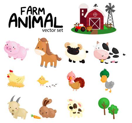 animales de granja: Rebeli�n en la granja Vector Set con ning�n fondo