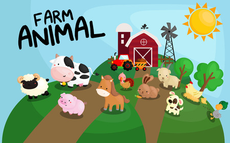 cartoon chicken: Farm Animal Illustration
