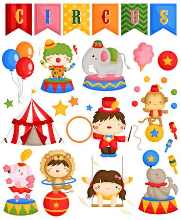 clown cirque: Carnaval Cirque Vector Set Illustration