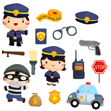 police cartoon: Police and Robber Vector Set