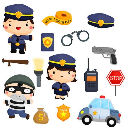 Polizia e Robber Vector Set Archivio Fotografico - 39183125