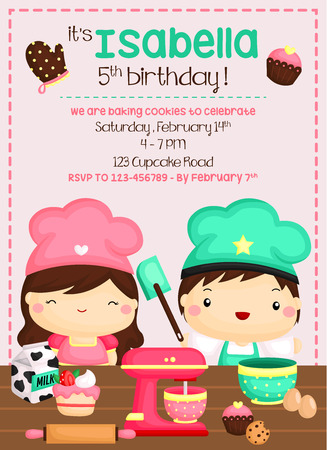 Baking Birthday Invitation Vector