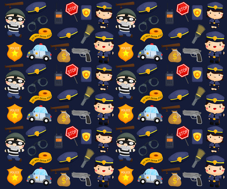 Police and Robber Background Vector