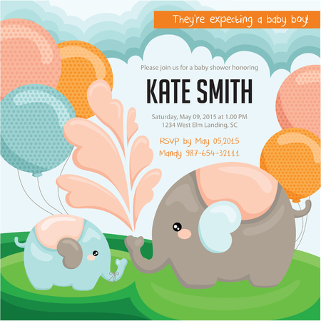 mother and baby son: Elephant baby Shower Invitation