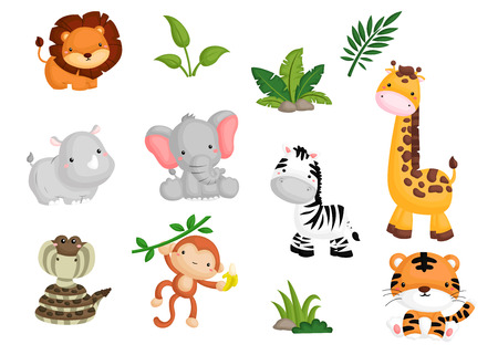 green cute: Jungle Animal Illustration