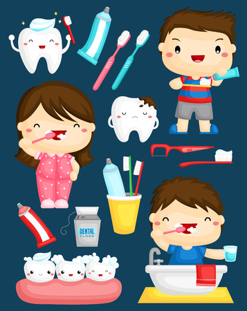 tooth cartoon: Brushing Teeth Vector Set