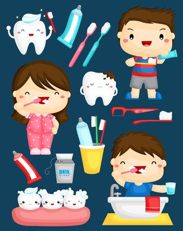 dientes caricatura: Cepillarse los dientes Vector Set