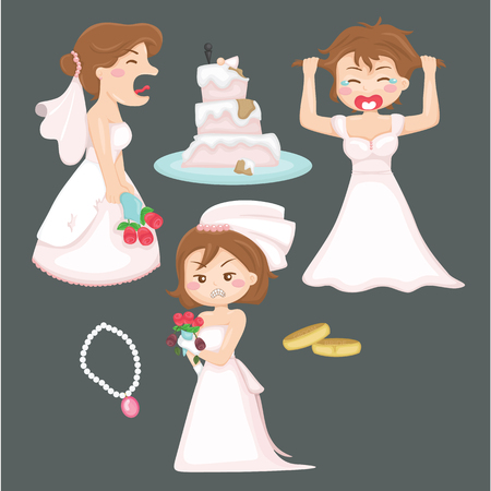 cartoon bouquet: Angry Bride