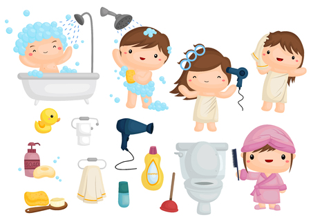 shower bath: Bath Time Illustration