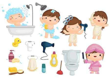 nene y nena: La hora del baño