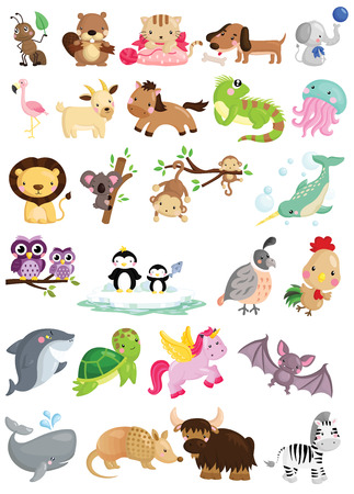 動物: 字母表動物向量集