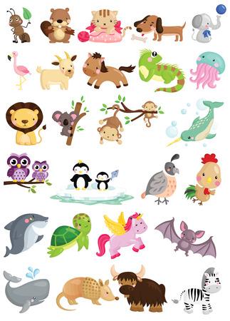 alfabeto con animales: Animal del alfabeto Vector Set Vectores