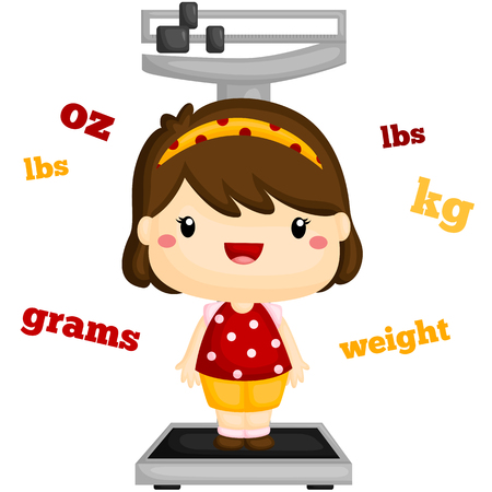 weighing scales: Girl Weighing