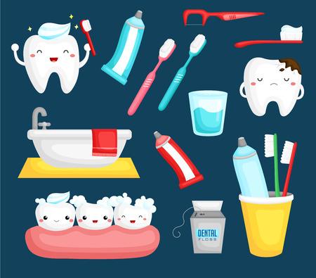 dientes caricatura: Los dientes y cepillo de dientes Vectores