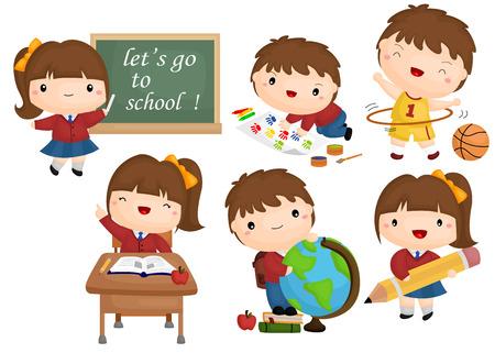 children at school: School Vector Set