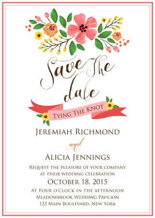hochzeit: Blumen-Hochzeits-Einladung Illustration