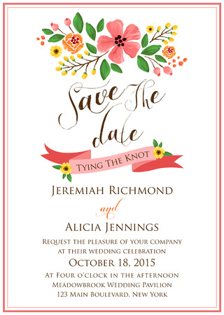 pink wedding: Flower Wedding Invitation