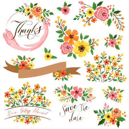 bouquet fleur: Jaune Orange Flower Aquarelle Vector Set Illustration