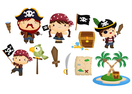 pirate treasure: Pirate Vector Set Illustration