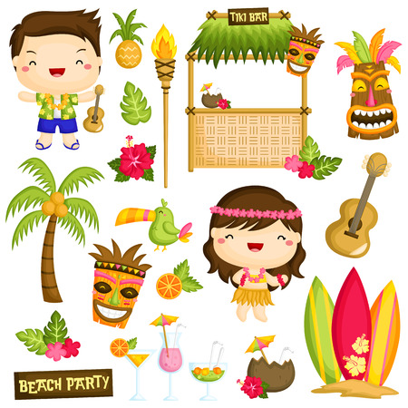 hula girl: Hawaii Luau Kids Vector Set Illustration