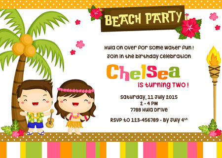 Hawaii Luau Birthday Invitation Card
