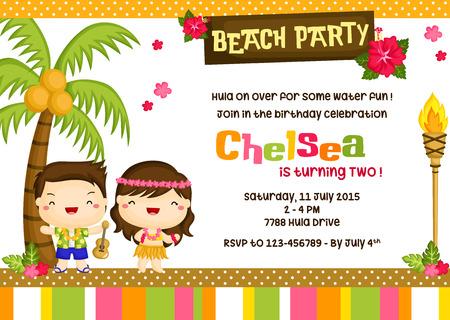 Hawaii Luau Birthday Invitation Card