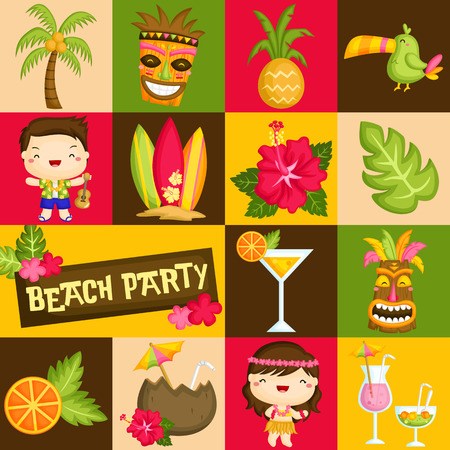 tiki party: Square Hawaii Luau Illustration
