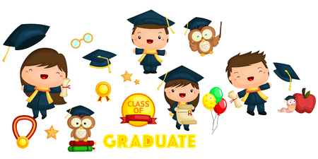 worm cartoon: Graduation vector set