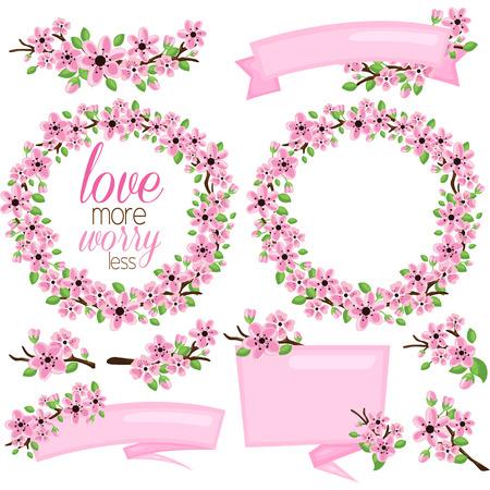 Pink Flower and Banner Illustration