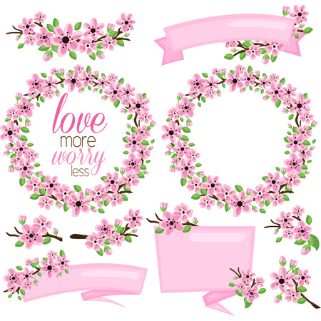 Pink Flower and Banner Ilustrace