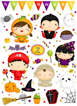witch on broom: Kids in Halloween Costume Vector Set