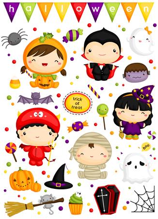brujas caricatura: Niños en disfraces de Halloween Vector Set Vectores