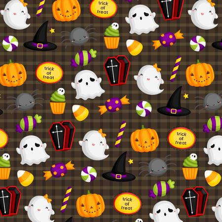 golosinas: Fondo lindo de Halloween Vectores