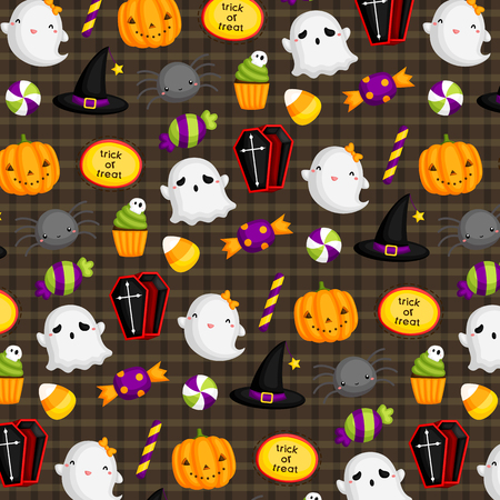 calabazas de halloween: Fondo lindo de Halloween Vectores