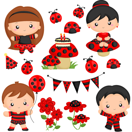 cartoon kid: Ladybug Birthday Party
