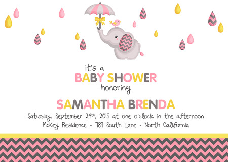 girl: Girl Elephant Baby Shower Invitation