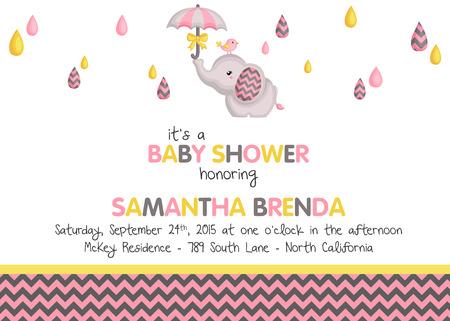 invitacion baby shower: Invitación de la ducha de la muchacha del bebé del elefante Vectores