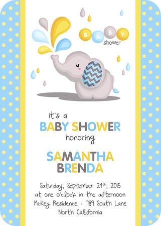 baby shower yellow: Boy Elephant Baby Shower Invitation