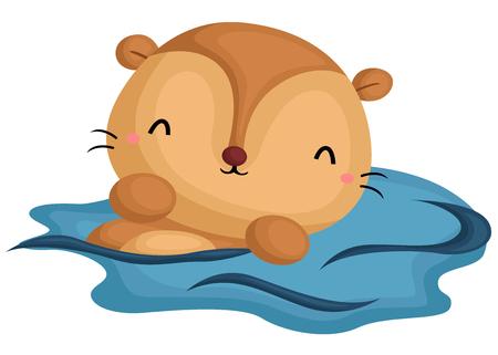 sea otter: Swimming Otter Illustration