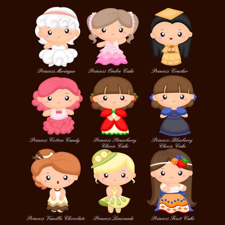 princess dress: Food Princess Vector Set Illustration