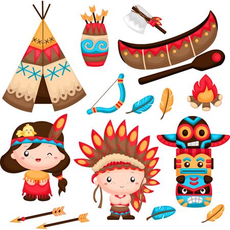 totem indien: Le couple amérindien Vector Set